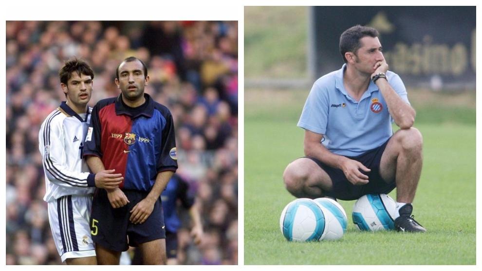 Abelardo, a la izquierda, en un partido con el Barça y Valverde, a la...