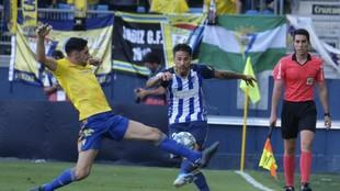 Último lance de un partido de la Ponferradina ante el Cádiz
