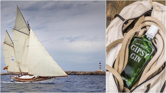 El 'Gipsy' navegando y la botella de ginebra Gipsy 1927.