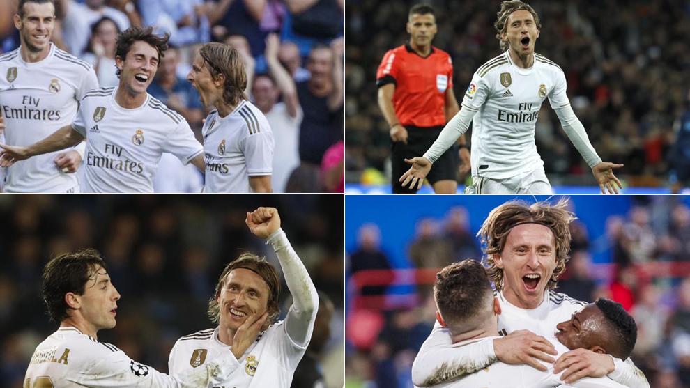 Modric celebrando sus cuatro goles