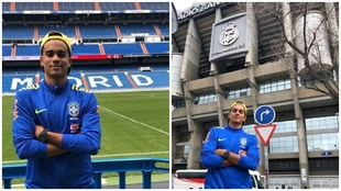 Reinier, posando en el Santiago Bernabéu, donde estuvo de visita en...