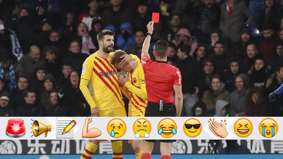De Jong, consolado por Piqué tras ver la roja