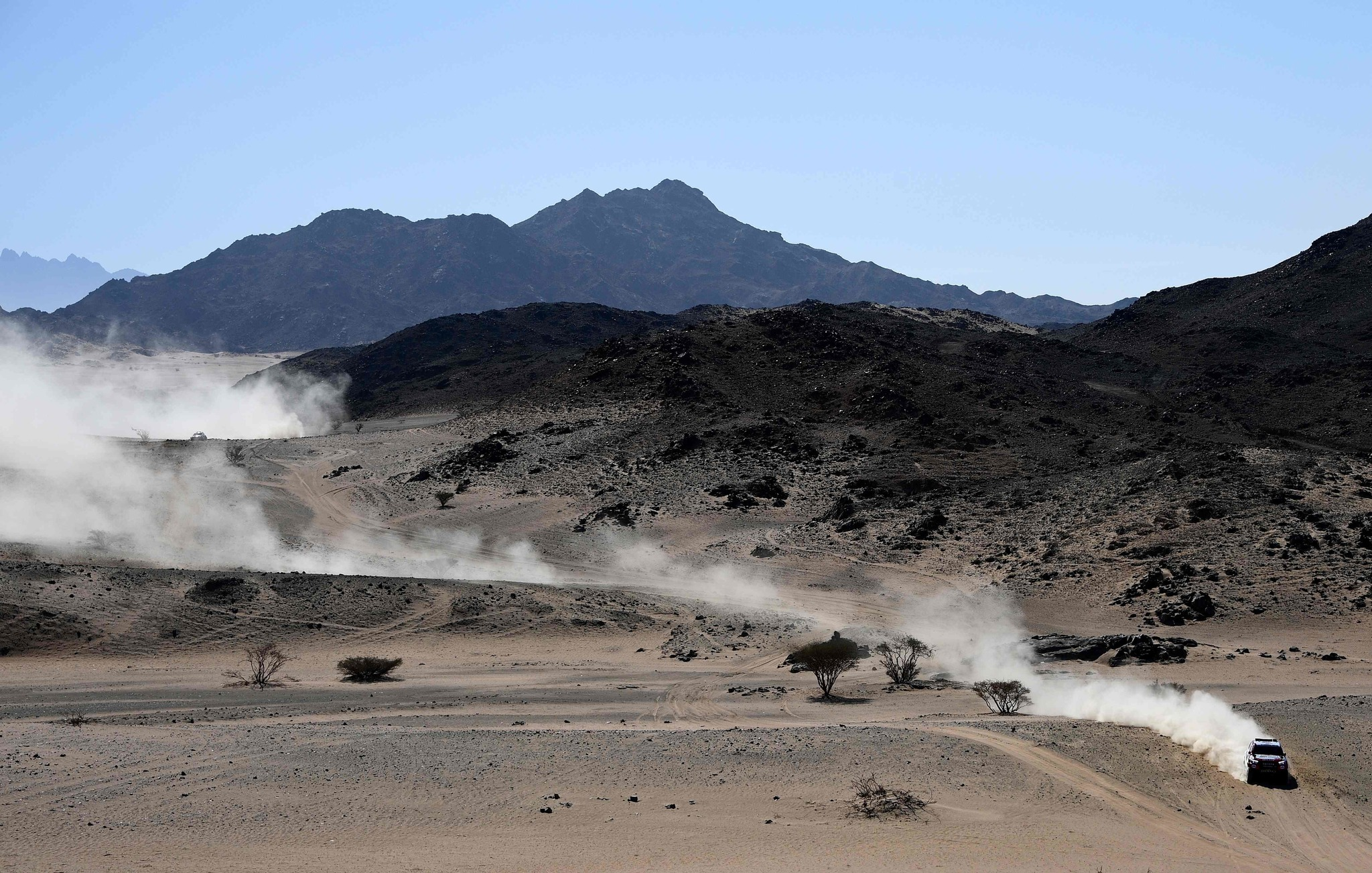 Toyotas Hilux Gazoo racing driver Frenando <HIT>Alonso</HIT> of Spain and co-driver Marc Coma of Spain compete during the Stage 1 of the Dakar 2020 between Jeddah and Al Wajh, Saudi Arabia, on January 5, 2020. (Photo by FRANCK FIFE / AFP)