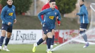 Manu García, durante un  entrenamiento