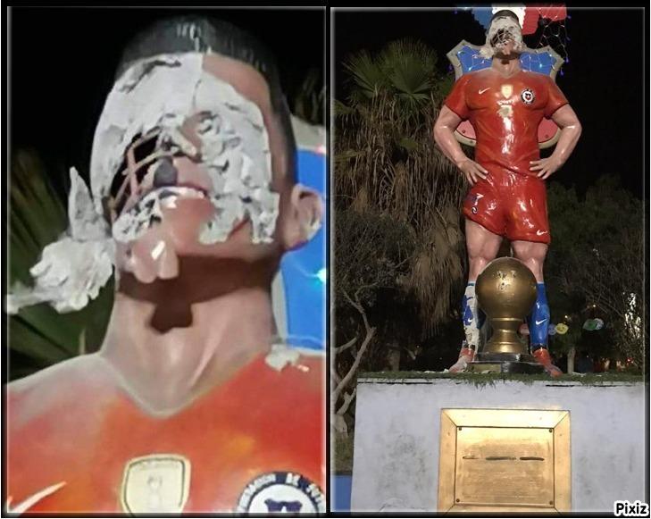 Destrozan la estatua del futbolista Alexis Sánchez en Tocopilla