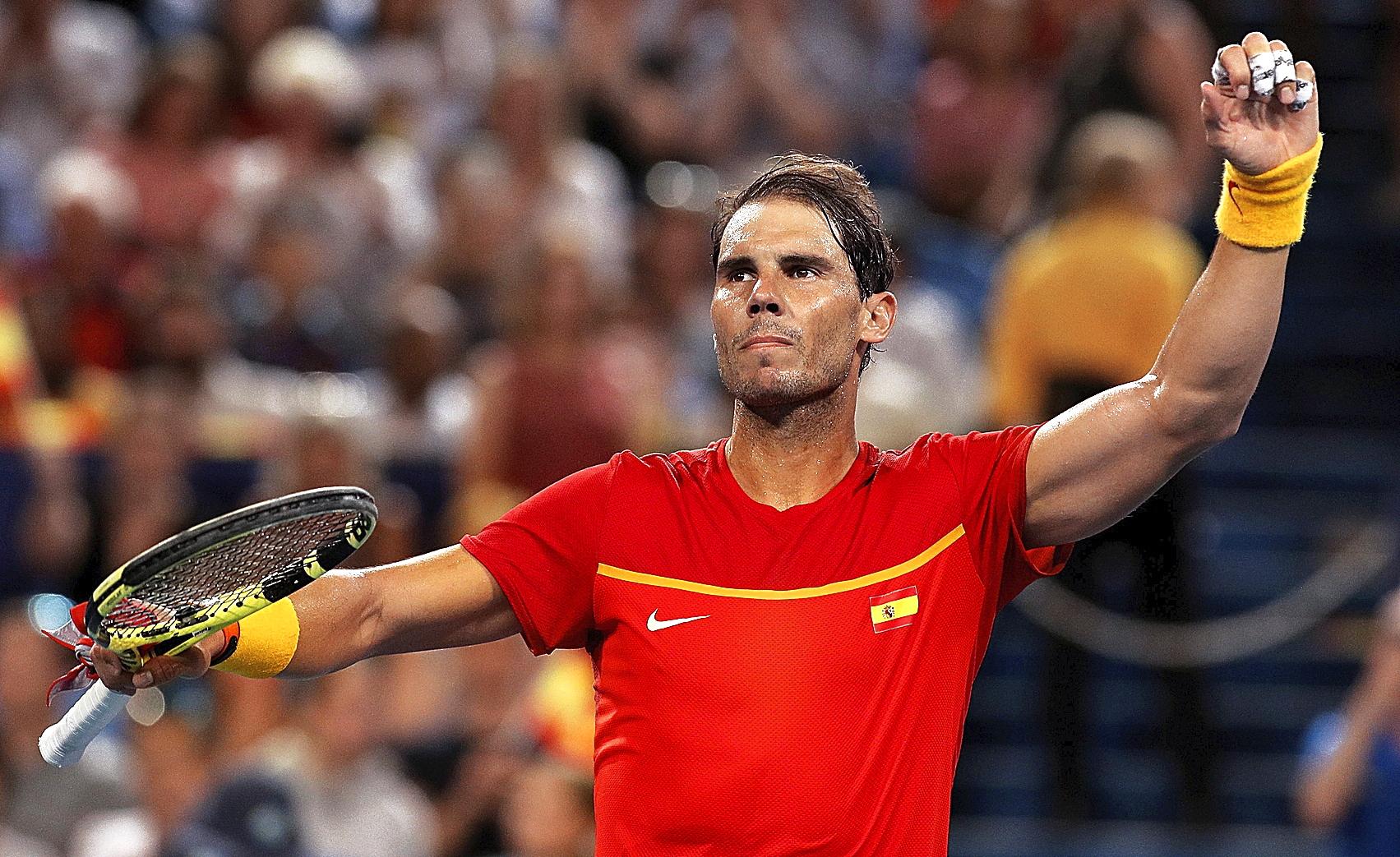 Rafa Nadal celebra su victoria ante Pablo Cuevas - ATP 2020