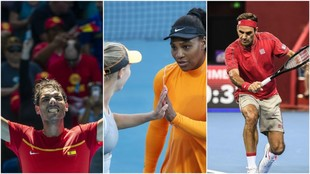 Nadal, Wozniacki, Serena y Federer, en acción