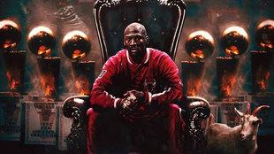 Michael Jordan en un montaje en el trono de la NBA