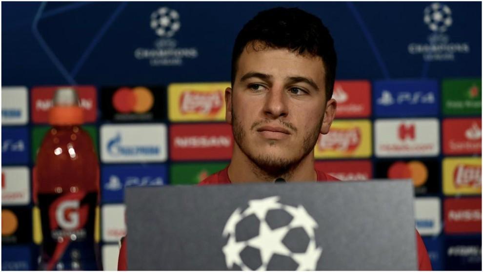 Diego Demme, en conferencia de prensa con el RB Leipzig.