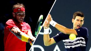 Rafael Nadal y Novak Djokovic durante sus respectivos partidos.