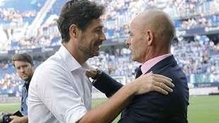 Víctor Sánchez y Paco Jémez se saludan en La Rosaleda antes del...