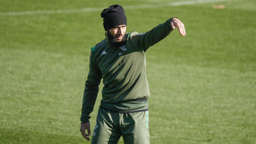 Fekir, en el entrenamiento de hoy