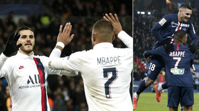 Icardi y Mbappé celebran uno de sus goles.