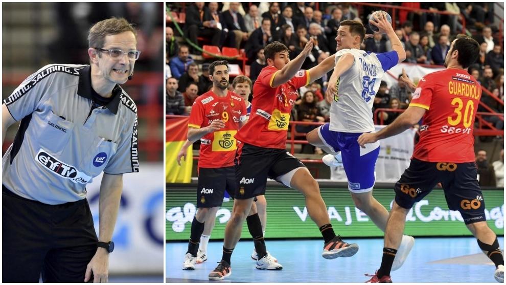 Un árbitro y una jugada del reciente España-Rusia en el Torneo...