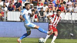 Gaspar Panadero, durante el partido ante el Lugo en el Juegos...