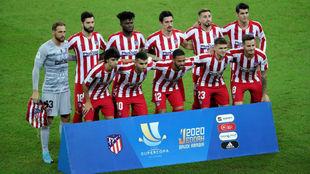 Once del Atlético frente al Barcelona.