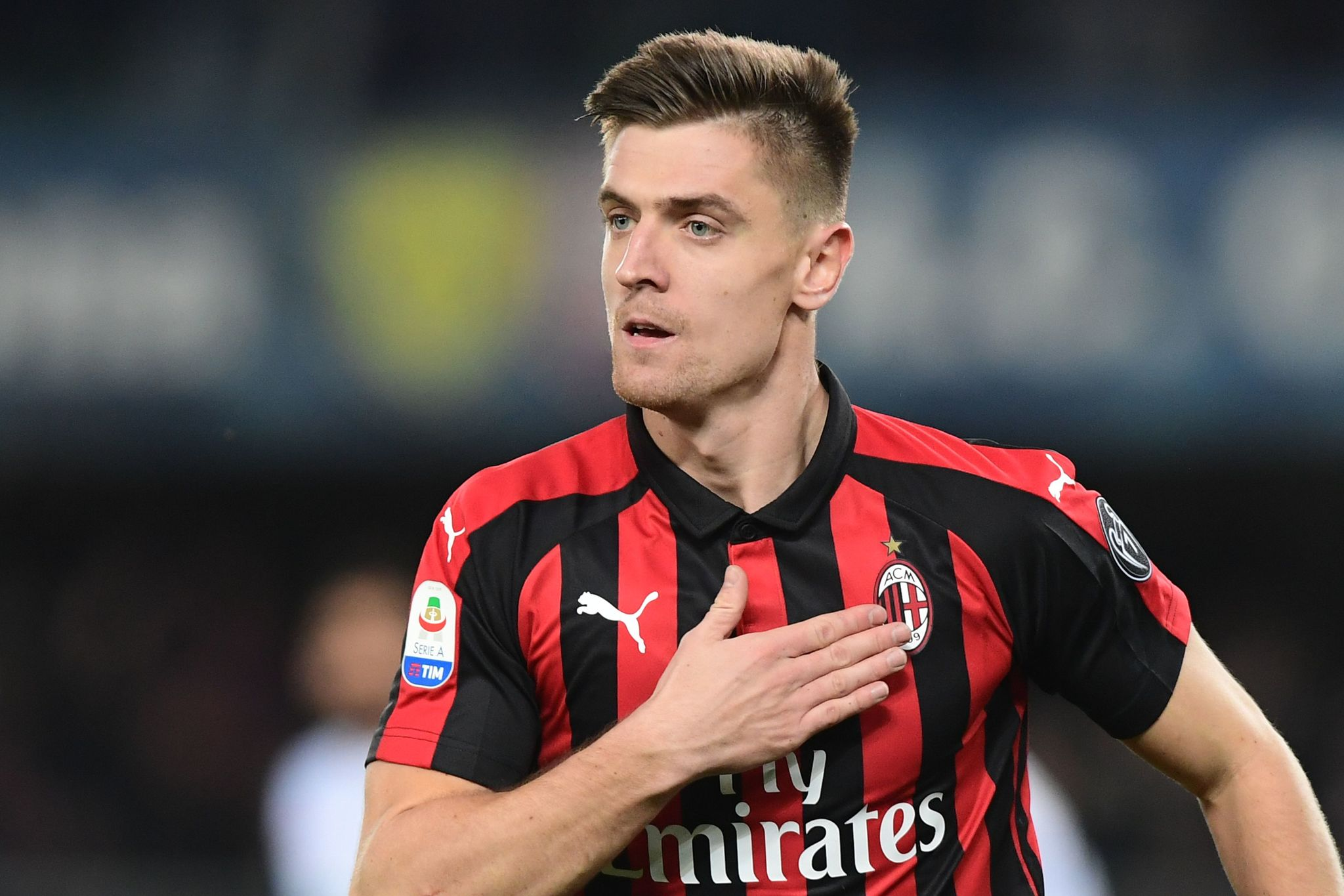 AC Milans Polish forward Krzysztof <HIT>Piatek</HIT> celebrates after scoring during the Italian Serie A football match Chievo Verona vs AC Milan on March 9, 2019 at the <HIT>Marcantonio-Bentegodi</HIT> stadium in Verona. (Photo by Miguel MEDINA / AFP)