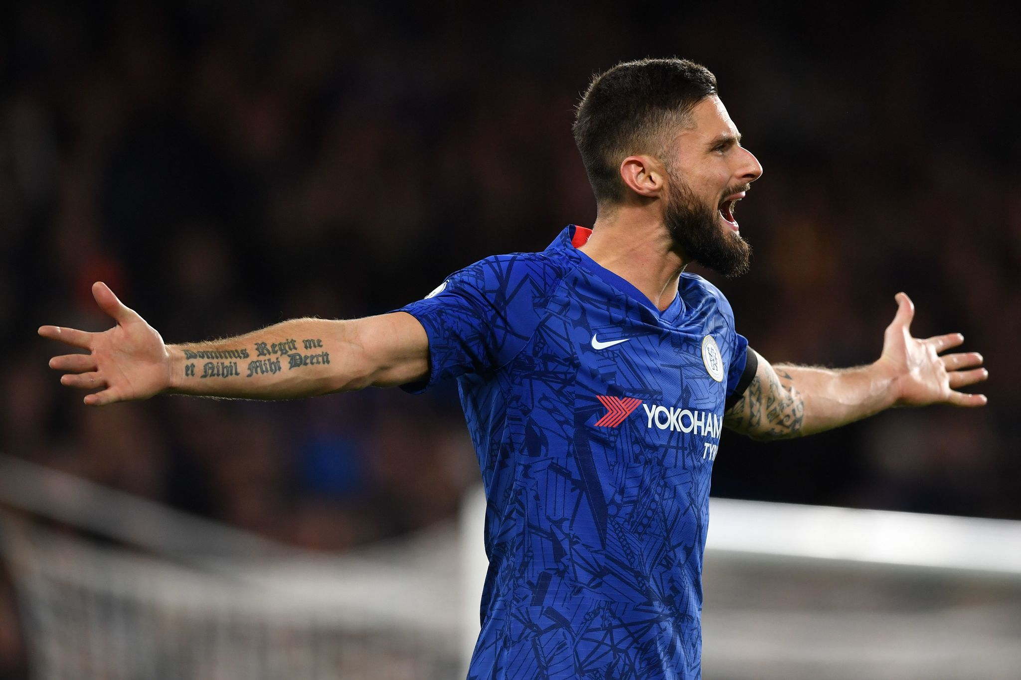 Chelseas French striker Olivier <HIT>Giroud</HIT> gestures during the English Premier League football match between Chelsea and West Ham United at Stamford Bridge in London on November 30, 2019. (Photo by Ben STANSALL / AFP) / RESTRICTED TO EDITORIAL USE. No use with unauthorized audio, video, data, fixture lists, club/league logos or live services. Online in-match use limited to 120 images. An additional 40 images may be used in extra time. No video emulation. Social media in-match use limited to 120 images. An additional 40 images may be used in extra time. No use in betting publications, games or single club/league/player publications. /
