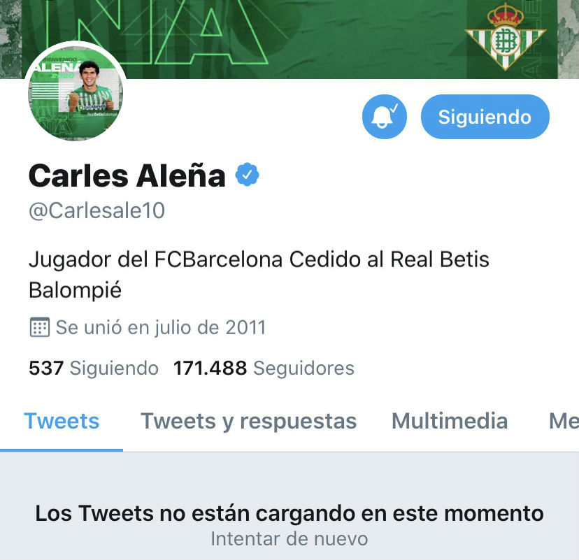 Perfil de twitter cancelado de Aleñá