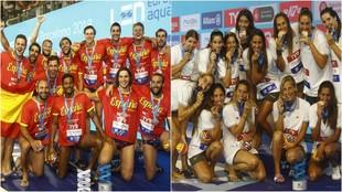 Las selección española tanto masculinas como femenina, de waterpolo.
