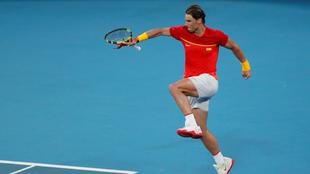 Rafael Nadal celebrando tras su victoria ante Alex de Minaur.
