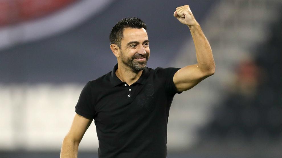Xavi celebra un gol del Al Sadd.