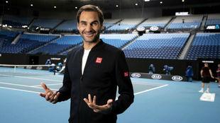 Federer posa en la Rod Laver Arena