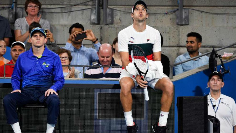 Lajovic, sentado durante el partido