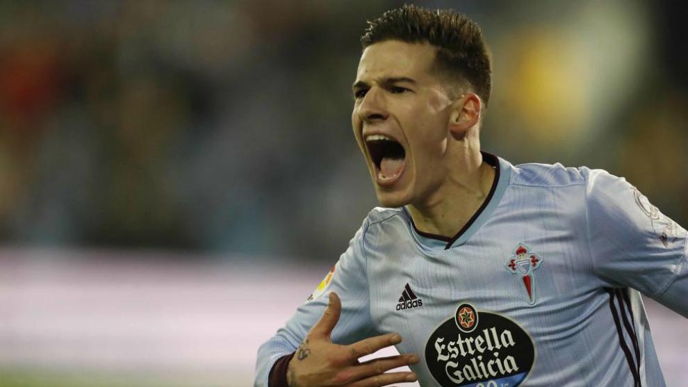 Santi MIna celebra un gol esta temporada.