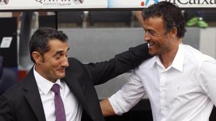 Valverde saluda a Luis Enrique en una imagen de archivo