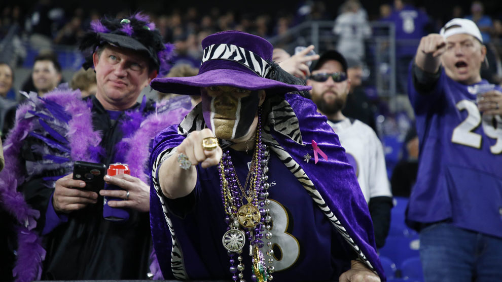 Aficionados de Baltimore durante un partido