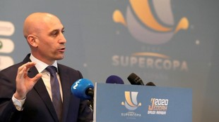 Luis rubiales, durante la presentación de la final de la Supercopa de...