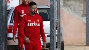 Aridai, antes de un entrenamiento con el Mallorca.