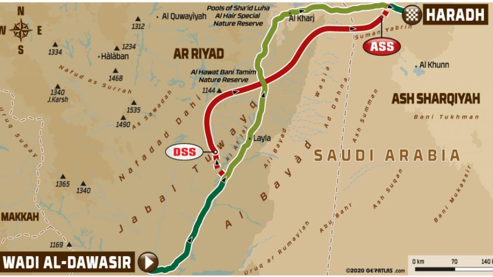 Etapa 9 del Dakar 2020, Wadi Al Dawasir - Harad: perfil, recorrido,...