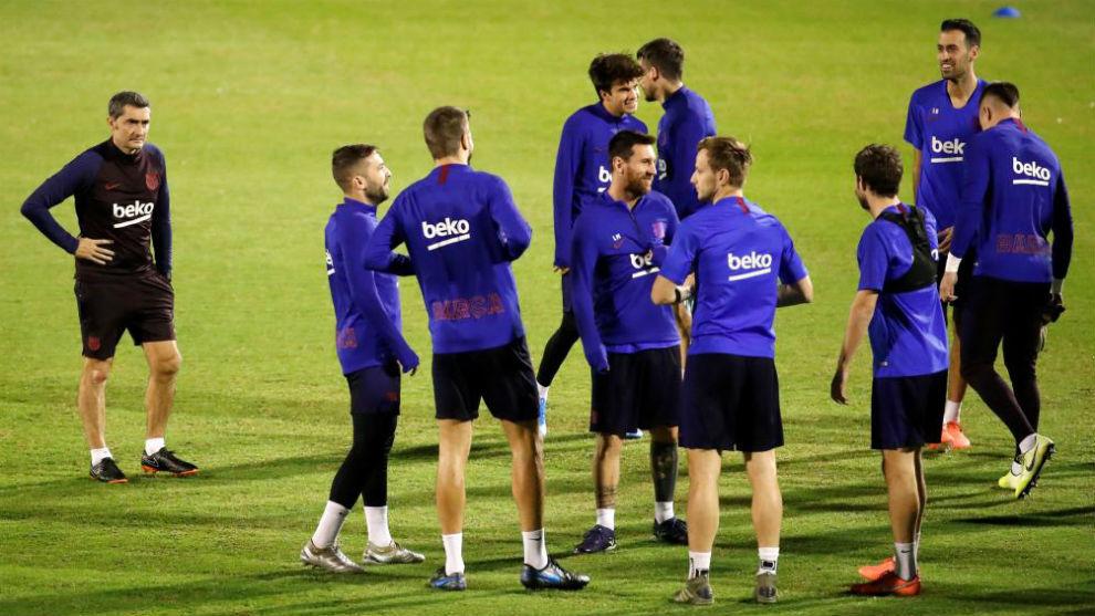 Entrenamiento del Barça.