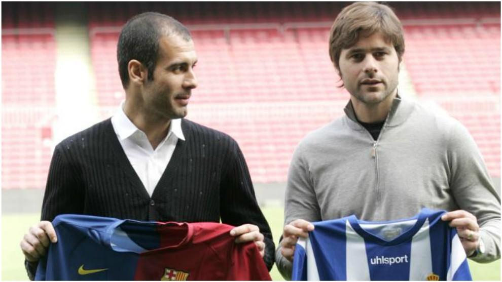 Pep Guardiola y Pochettino, en la previa de un Barça-Espanyol cuando...