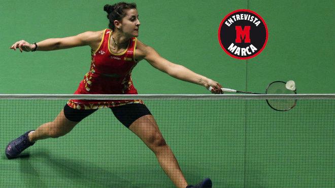 Carolina Marín, en un partido del Masters de Malasia.