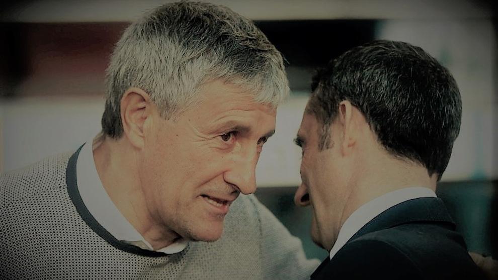Setién charla con Valverde antes del Barça-Betis de la pasada...