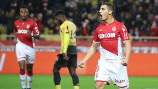 Ben Yedder celebra uno de sus goles con el Mónaco en esta Ligue 1.