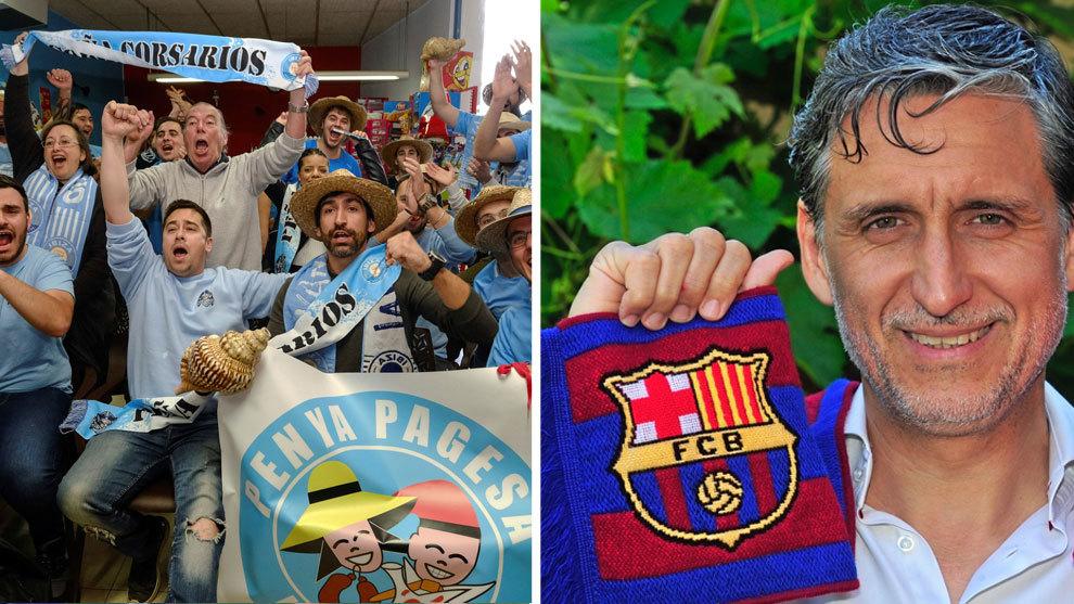 A la izquierda, seguidores de la UD Ibiza celebran el sorteo de Copa...
