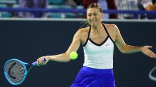 María Sharapova durante un torneo en Abu Dhabi.