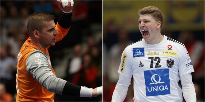 El portero checo Martin Galia y el austríaco Lukas Hutecek /