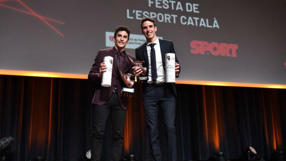 Marc Márquez y Álex Márquez, en la Fiesta del Deporte Catalán.