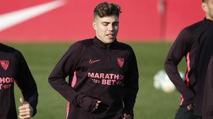 Alejandro Pozo, en el entrenamiento de este miércoles.