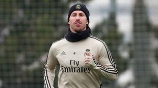 Sergio Ramos, este miércoles en Valdebebas