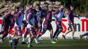 Un entrenamiento del Villarreal esta temporada.