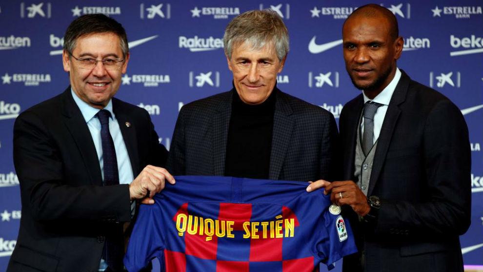 Quique Setién en su presentación con el Barça