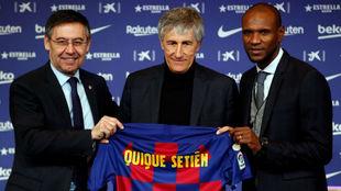 Quique Setién en su presentación como entrenador del Barça.