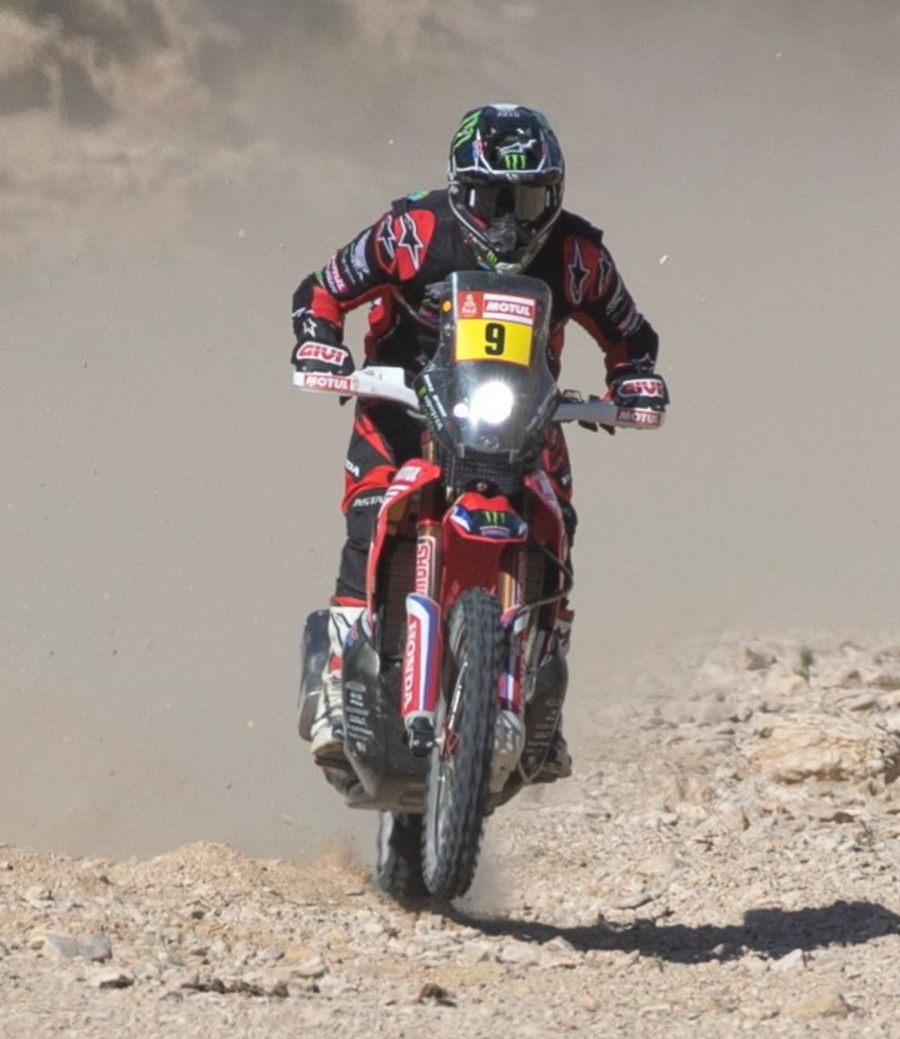Haradh (Saudi Arabia), 14/01/2020.- US Ricky <HIT>Brabec</HIT> (Monster Energy Honda Team 2020) in action during stage nine of the Rally Dakar 2020 between Wadi Al-Dawasir and Haradh, Saudi Arabia, 14 January 2020. (Arabia Saudita) EFE/EPA/ANDRE PAIN