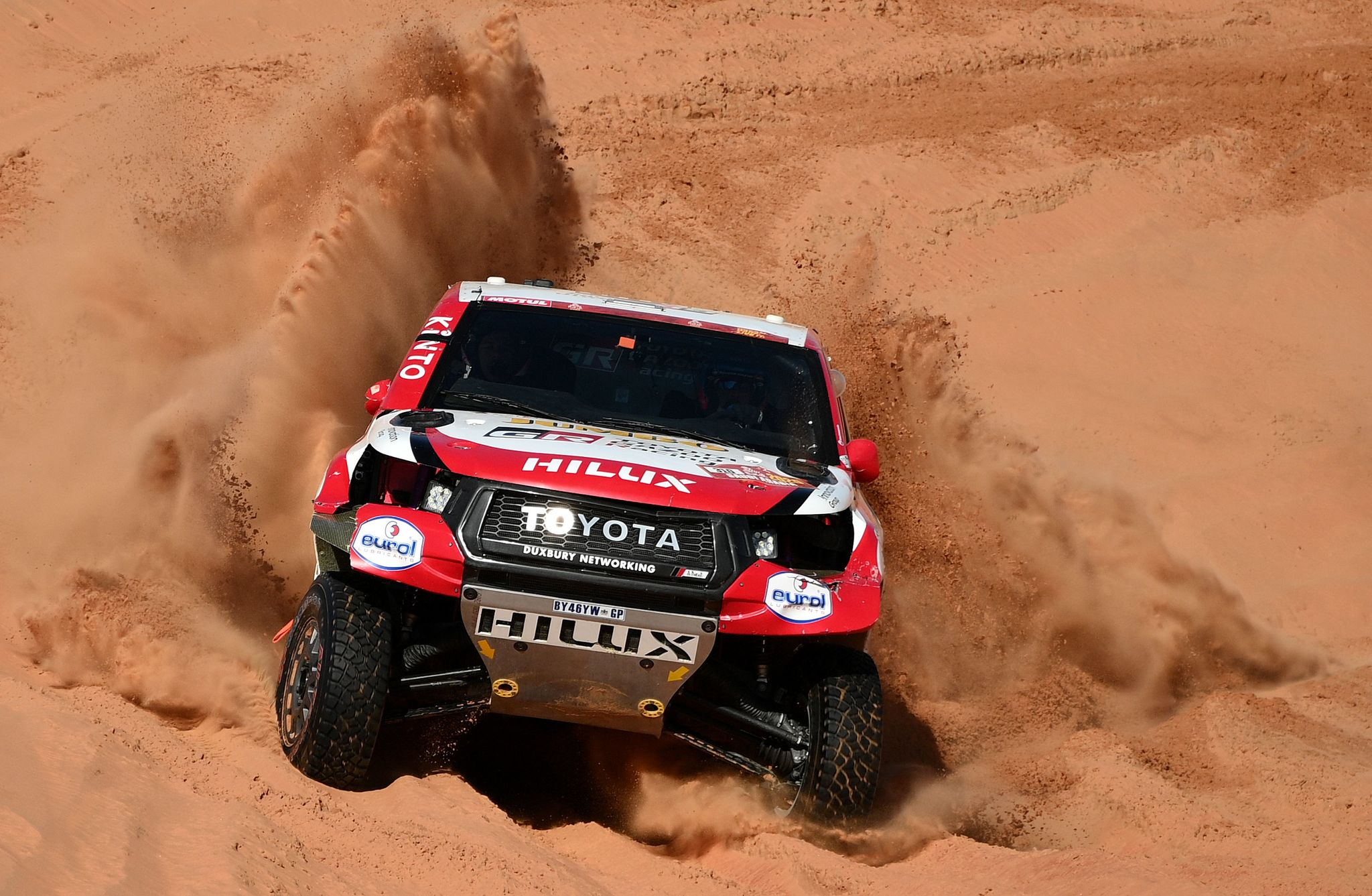 Toyotas driver Fernando <HIT>Alonso</HIT> of Spain and co-driver Marc Coma of Spain compete during the Stage 11 of the Dakar 2020 between Shubaytah and Haradh, Saudi Arabia, on January 16, 2020. (Photo by FRANCK FIFE / AFP)